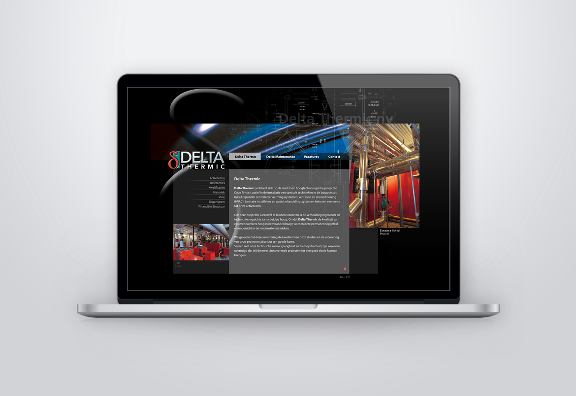 Delta Thermic website design by Bert Vanden Berghe for Graffito nv