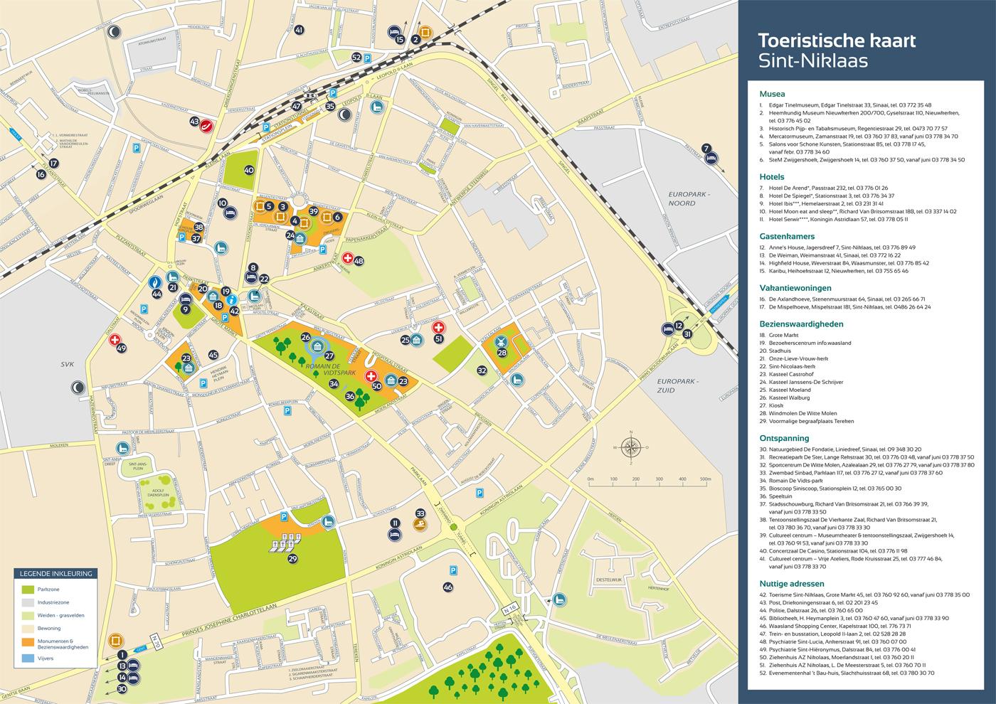 Toeristische kaart - Tourist map Sint-Niklaas, Bert Vanden Berghe 2012