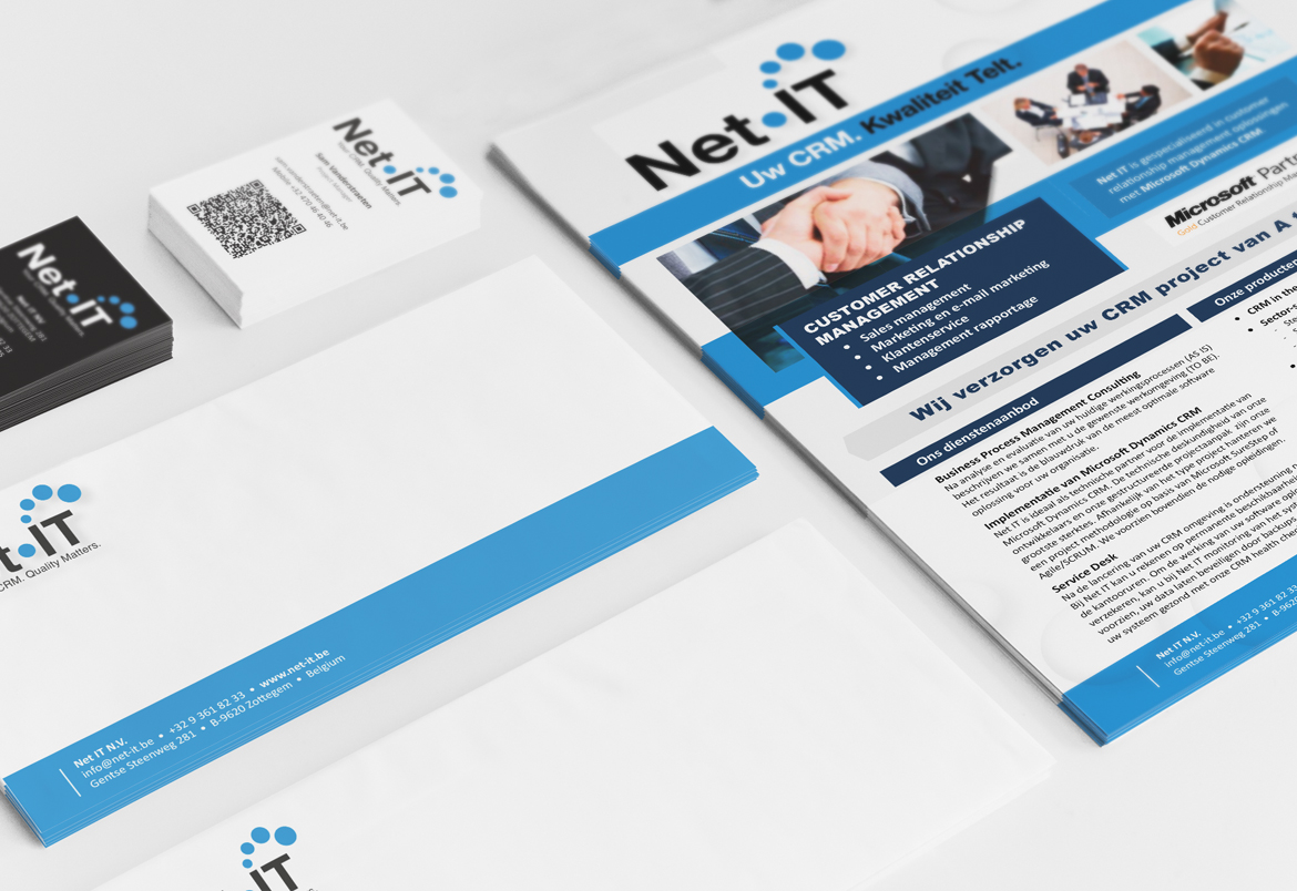 Net IT logo redesign + housestyle - folders and stationary - design by Bert Vanden Berghe