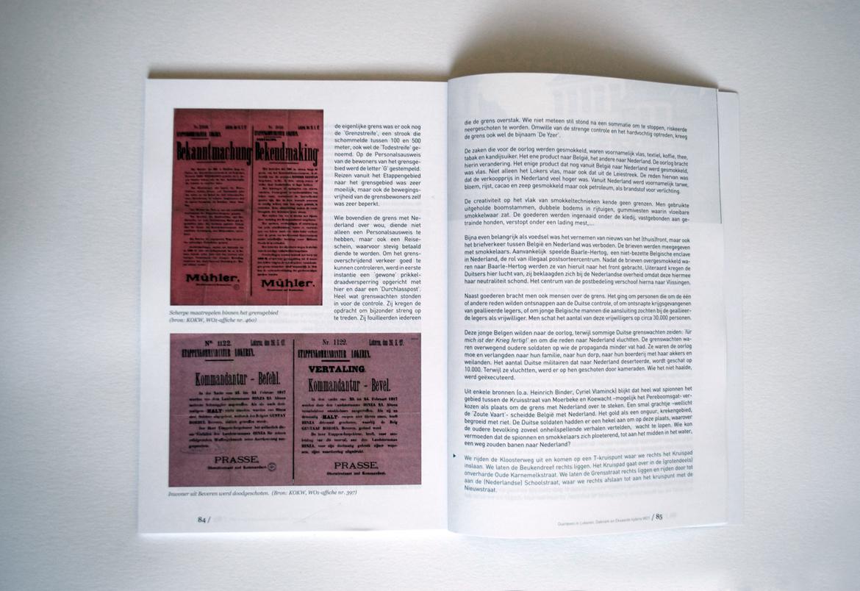 """Book design for """"Om de oorlog echt te haten, moet men er heel dikwijls over praten… Overleven in Lokeren, Daknam en Eksaarde tijdens WOI."""""""