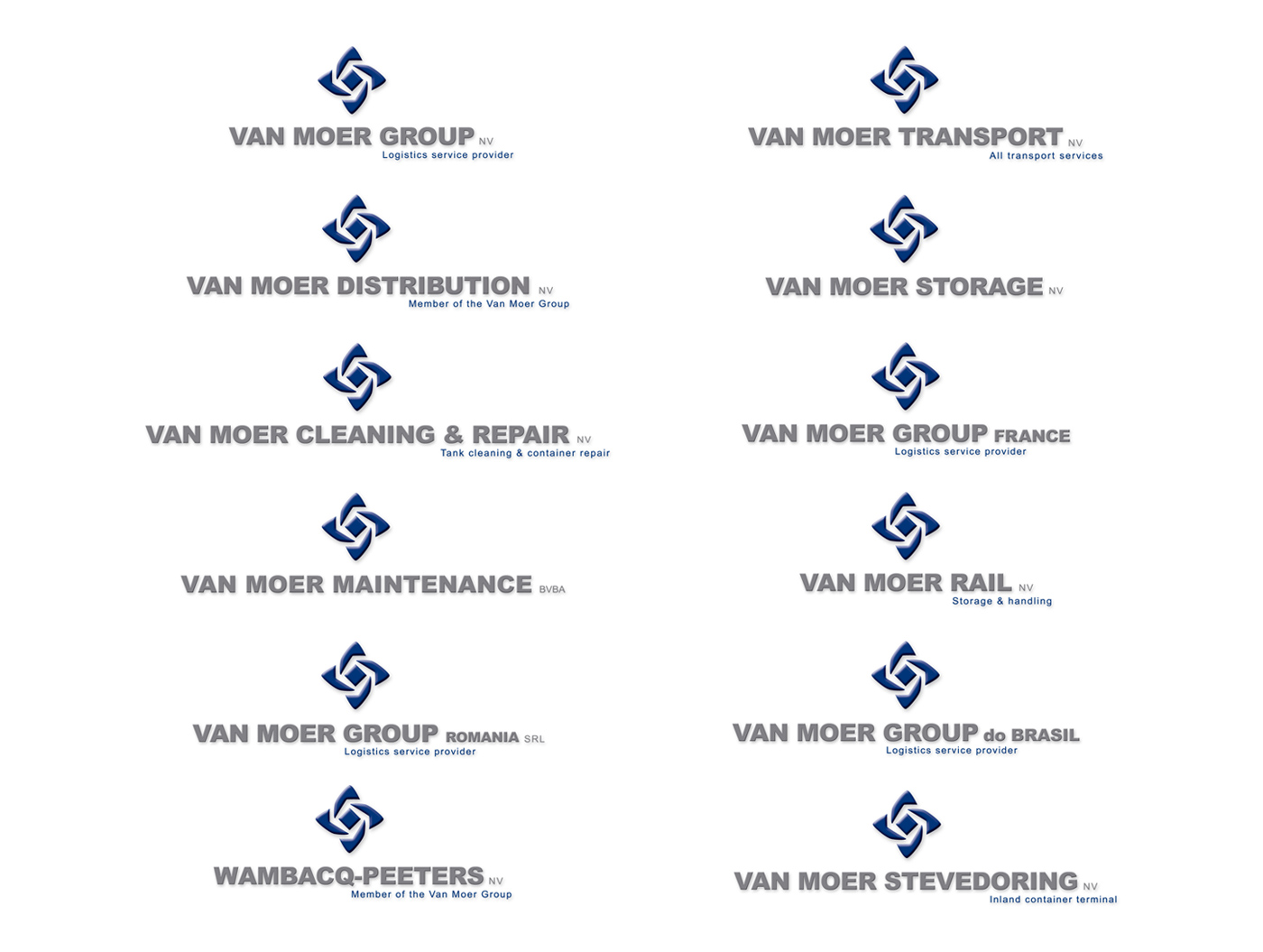 Van Moer Group logo design by Bert Vanden Berghe for Graffito nv