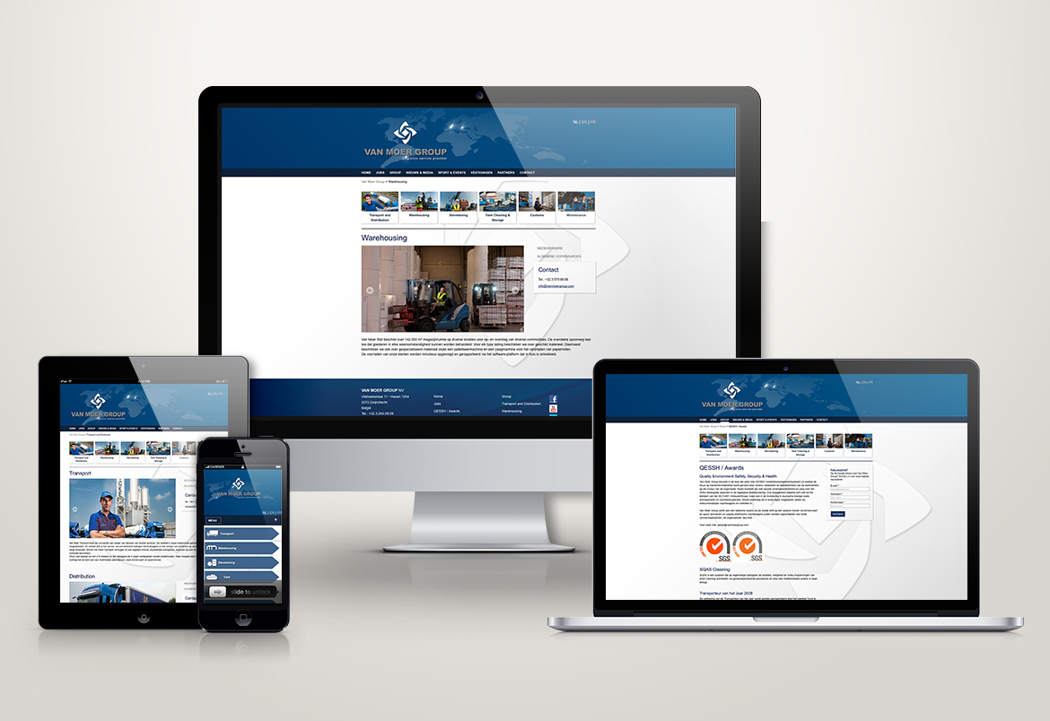 Van Moer Group - responsive webdesign By Bert Vanden Berghe for Graffito nv