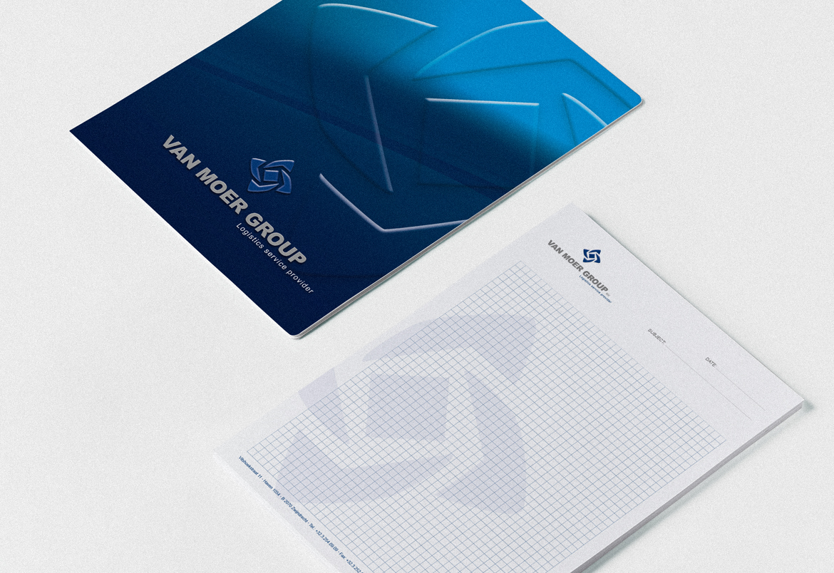 Van Moer Group stationary design by Bert Vanden Berghe for Graffito nv.