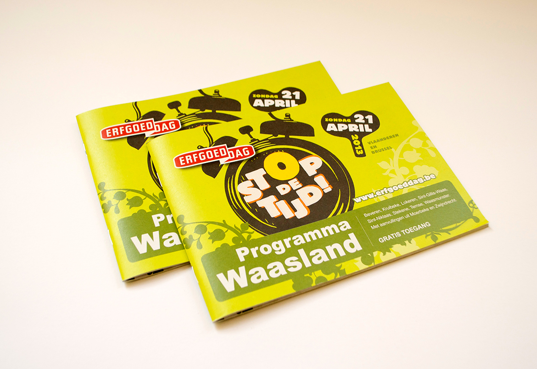 Erfgoedcel Waasland - programmabrochure Erfgoeddag - design vormgeving opmaak Bert Vanden Berghe - for Graffito nv